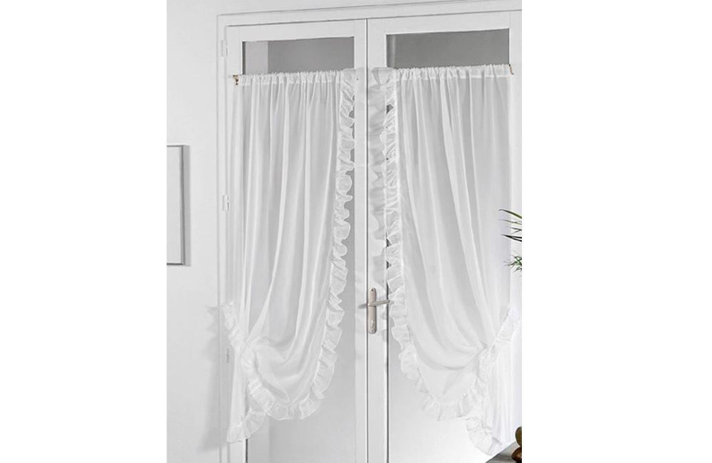 """paire de rideaux """"bonne femme"""". voilage plein jour blanc. 95x150"""