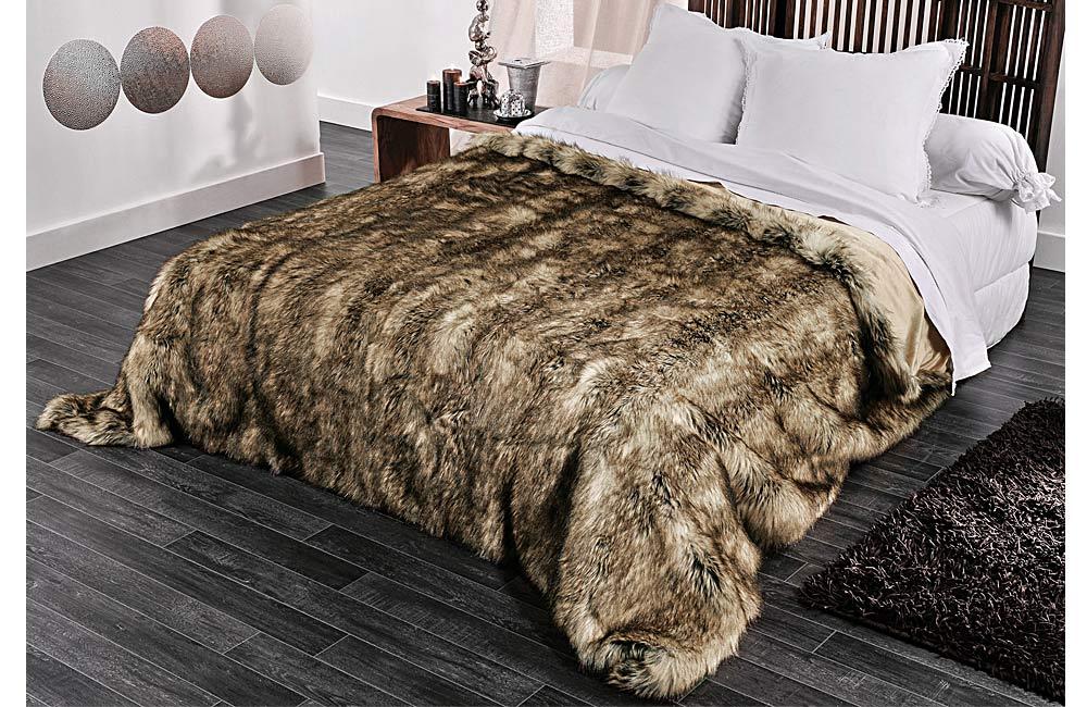couvre lit et plaid fausse fourrure grizzly ebay. Black Bedroom Furniture Sets. Home Design Ideas